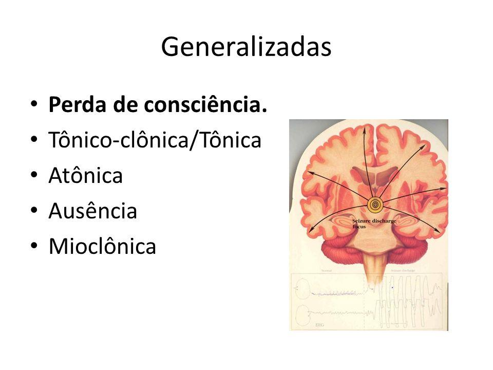 Generalizadas Perda de consciência. Tônico-clônica/Tônica Atônica