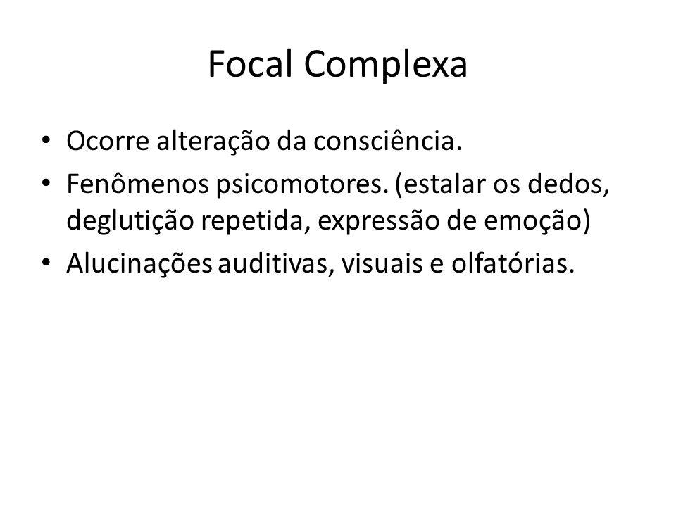 Focal Complexa Ocorre alteração da consciência.