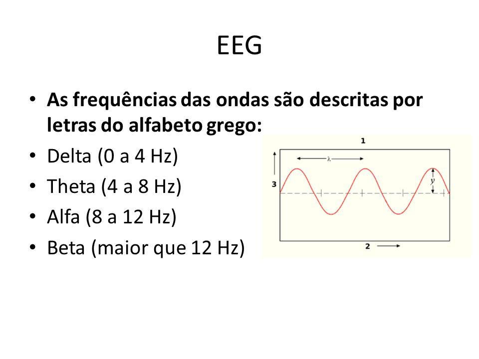 EEG As frequências das ondas são descritas por letras do alfabeto grego: Delta (0 a 4 Hz) Theta (4 a 8 Hz)