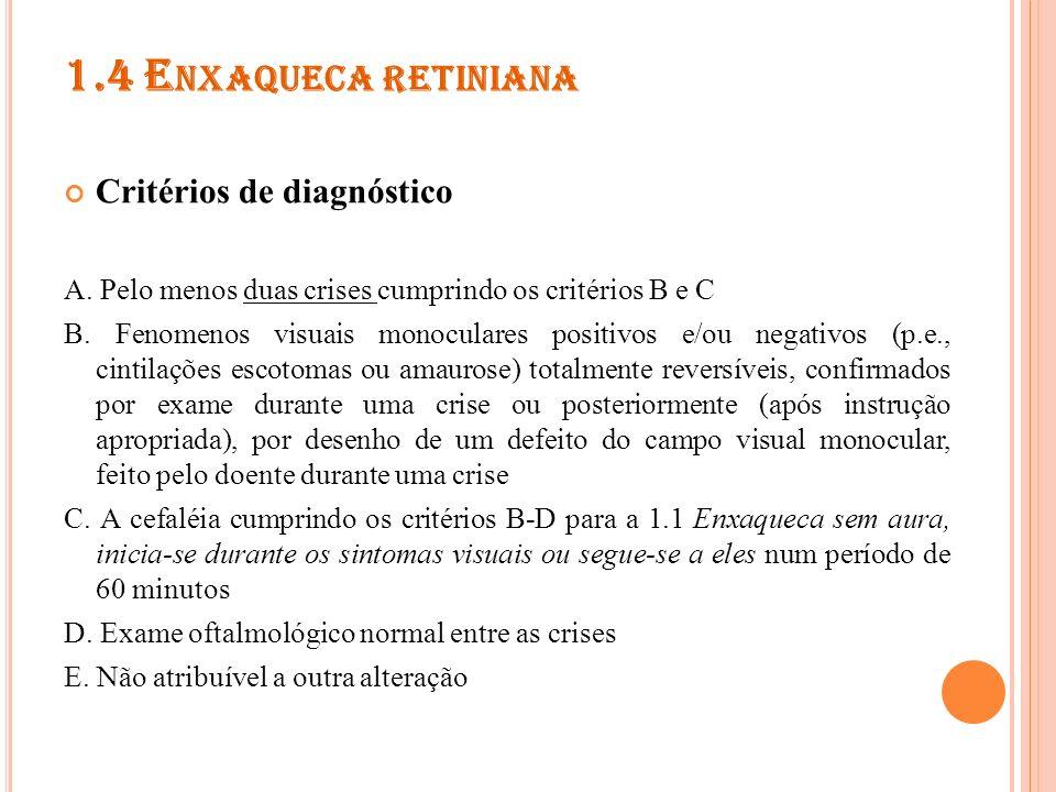 1.4 Enxaqueca retiniana Critérios de diagnóstico