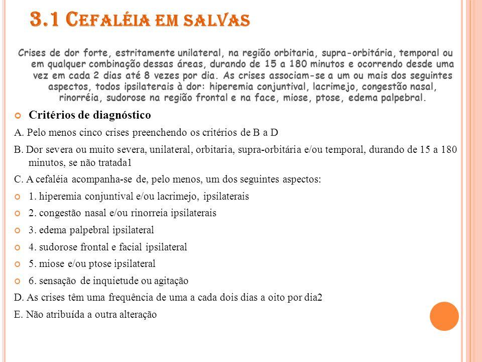 3.1 Cefaléia em salvas Critérios de diagnóstico