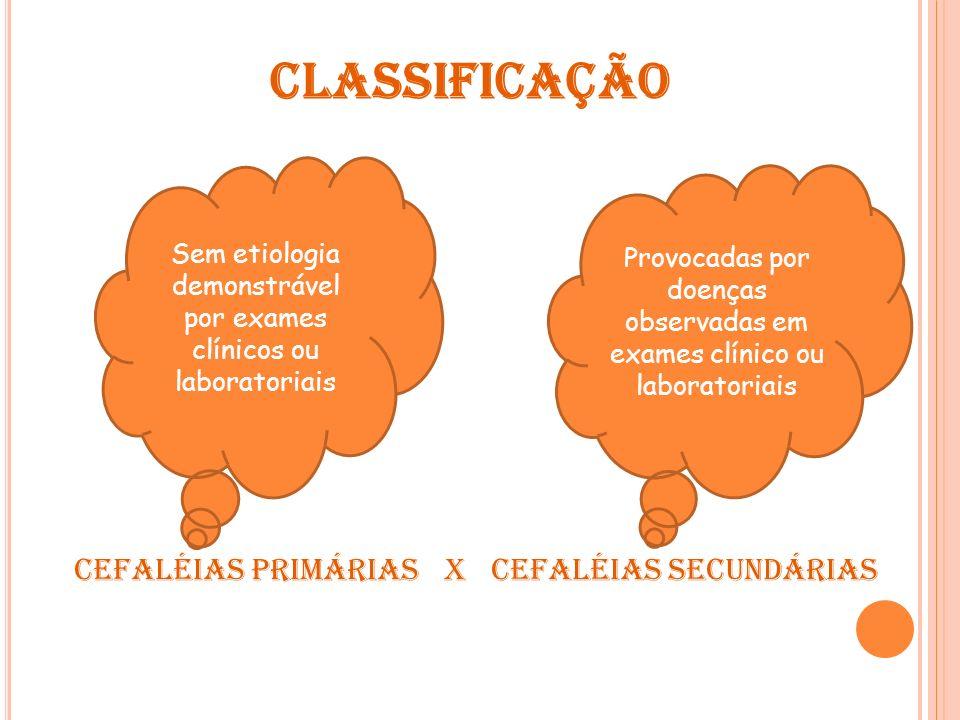 Classificação Cefaléias Primárias X Cefaléias secundárias
