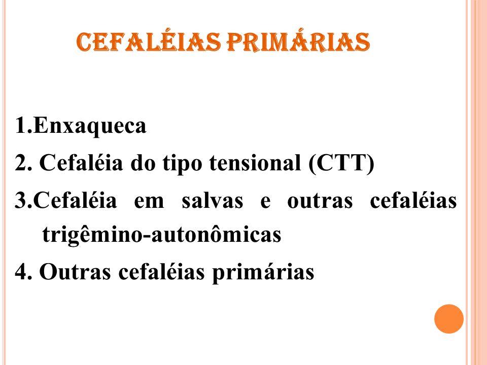 CEFALÉIAS PRIMÁRIAS 1.Enxaqueca 2. Cefaléia do tipo tensional (CTT)