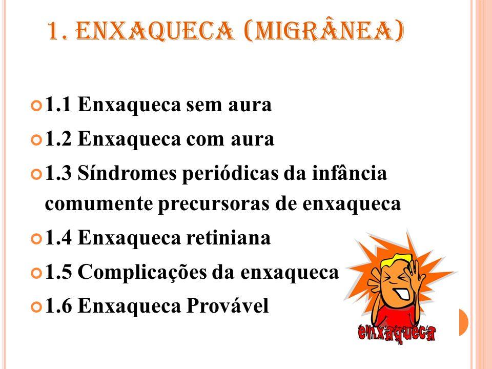 1. ENXAQUECA (MIGRÂNEA) 1.1 Enxaqueca sem aura 1.2 Enxaqueca com aura