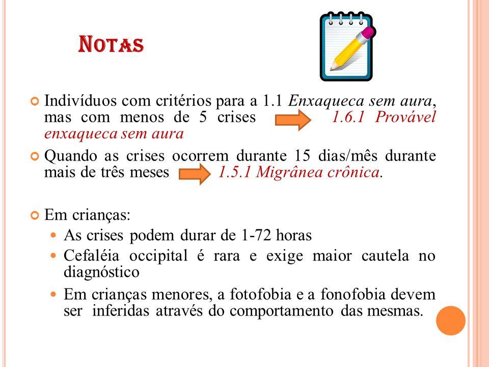 Notas Indivíduos com critérios para a 1.1 Enxaqueca sem aura, mas com menos de 5 crises 1.6.1 Provável enxaqueca sem aura.
