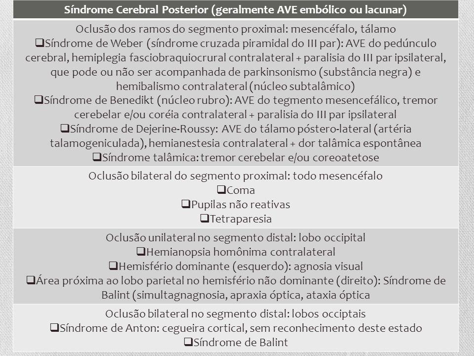 Síndrome Cerebral Posterior (geralmente AVE embólico ou lacunar)
