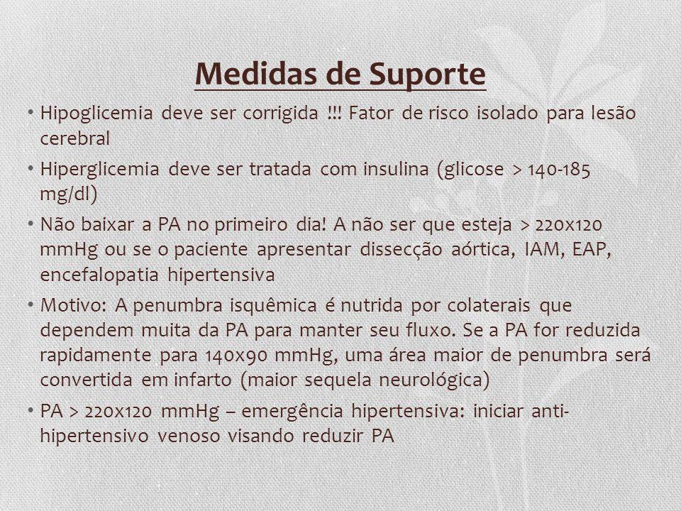 Medidas de Suporte Hipoglicemia deve ser corrigida !!! Fator de risco isolado para lesão cerebral.