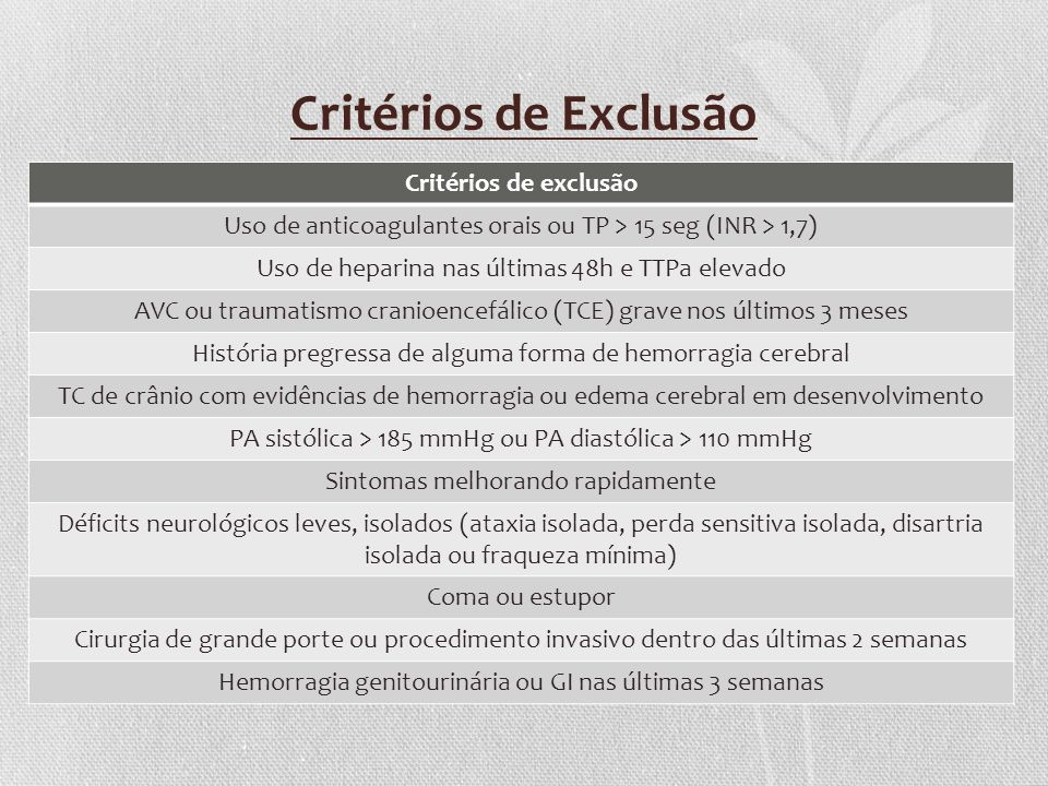 Critérios de Exclusão Critérios de exclusão