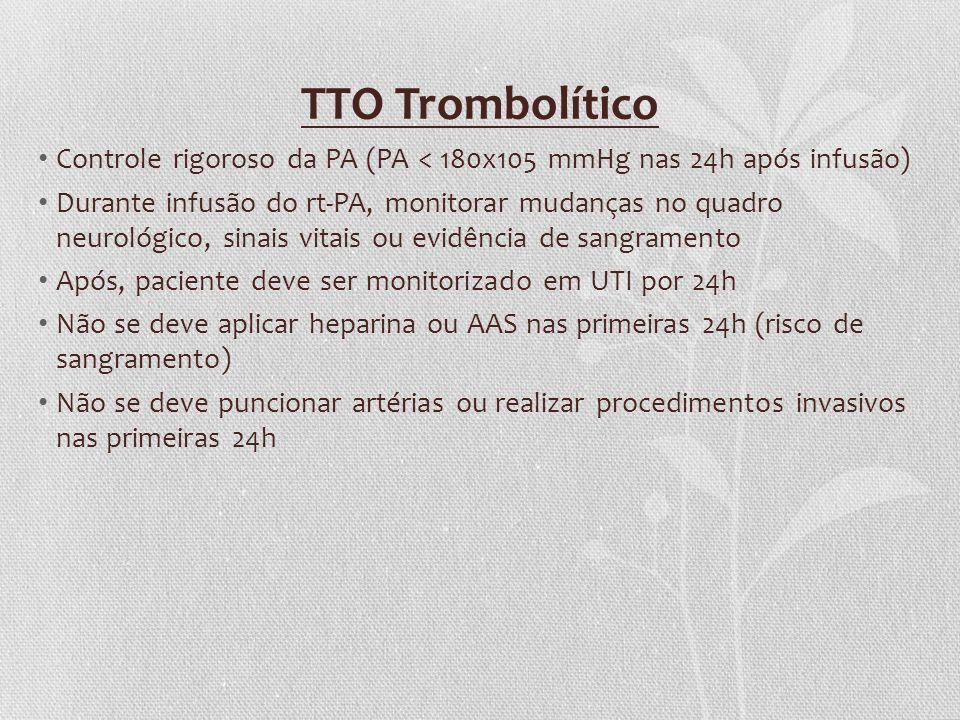 TTO Trombolítico Controle rigoroso da PA (PA < 180x105 mmHg nas 24h após infusão)