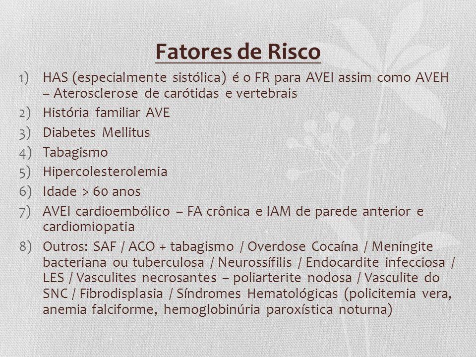 Fatores de Risco HAS (especialmente sistólica) é o FR para AVEI assim como AVEH – Aterosclerose de carótidas e vertebrais.