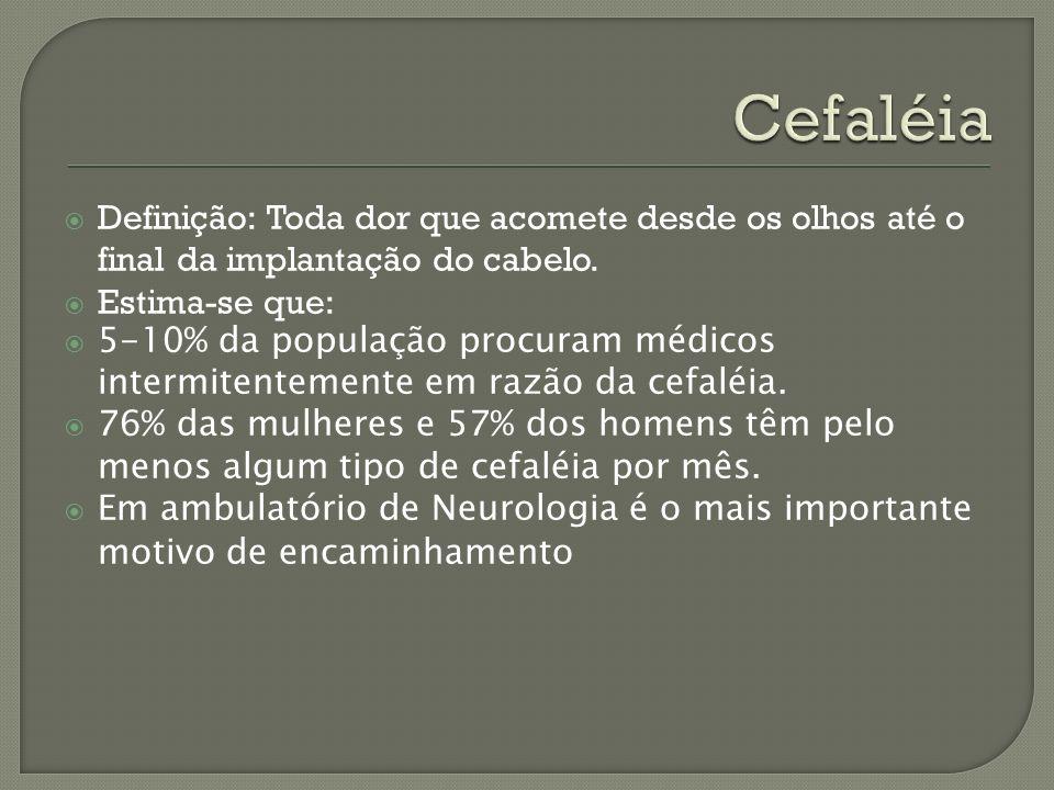 Cefaléia Definição: Toda dor que acomete desde os olhos até o final da implantação do cabelo. Estima-se que: