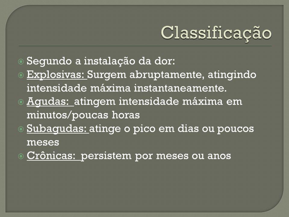 Classificação Segundo a instalação da dor: