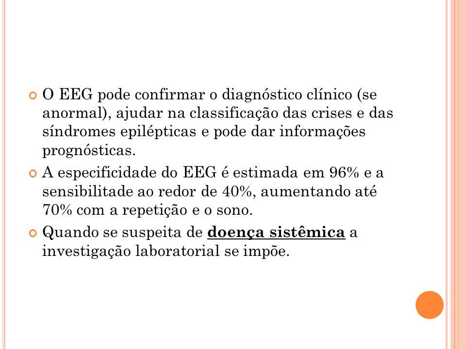 O EEG pode confirmar o diagnóstico clínico (se anormal), ajudar na classificação das crises e das síndromes epilépticas e pode dar informações prognósticas.