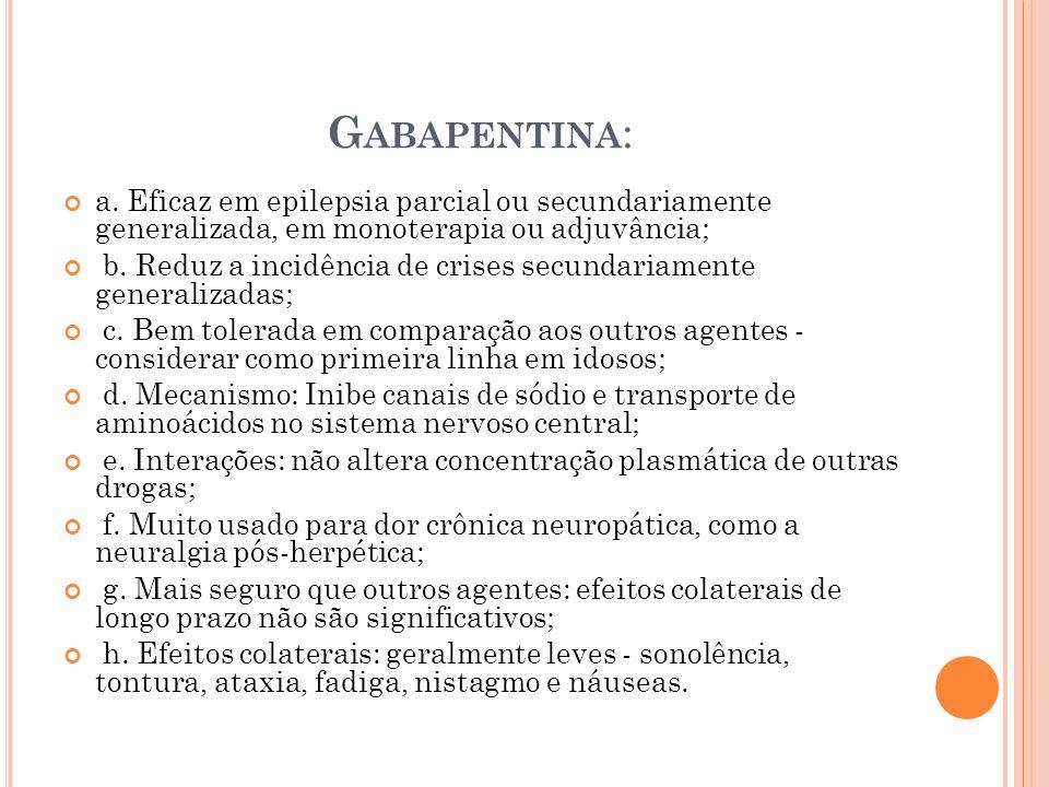 Gabapentina: a. Eficaz em epilepsia parcial ou secundariamente generalizada, em monoterapia ou adjuvância;