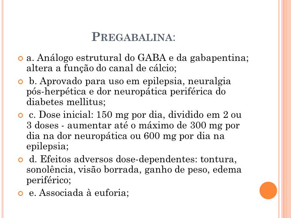 Pregabalina: a. Análogo estrutural do GABA e da gabapentina; altera a função do canal de cálcio;