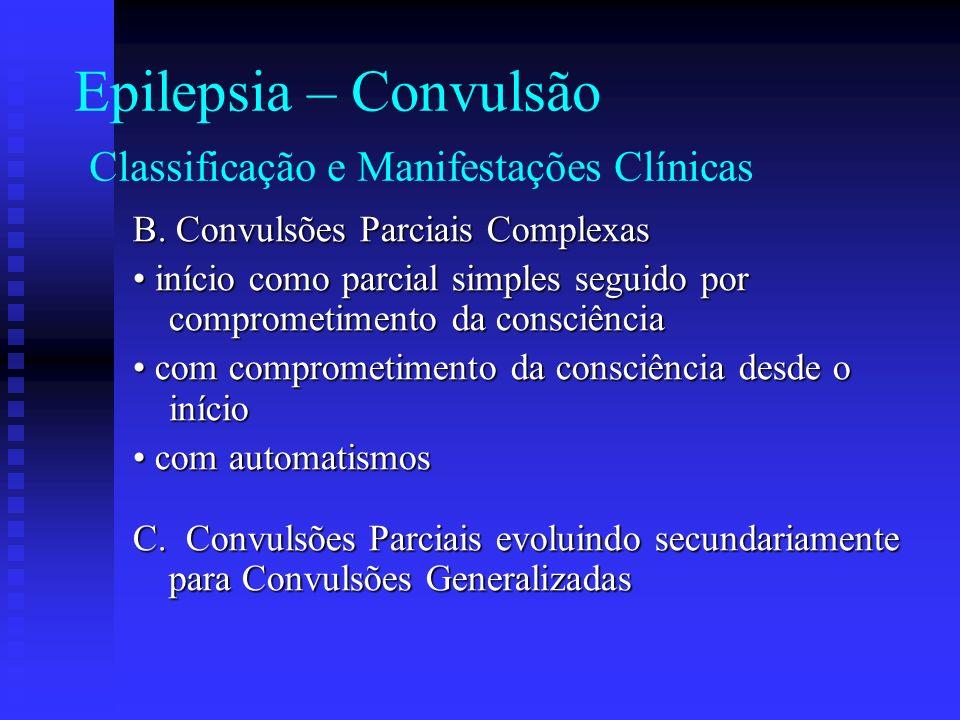 Epilepsia – Convulsão Classificação e Manifestações Clínicas