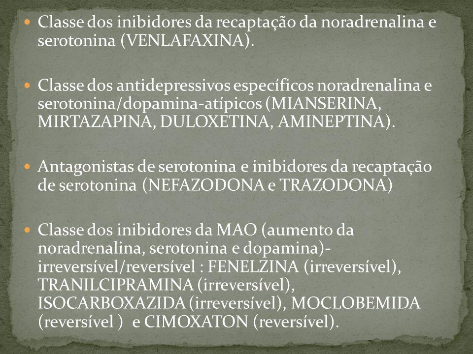 Classe dos inibidores da recaptação da noradrenalina e serotonina (VENLAFAXINA).