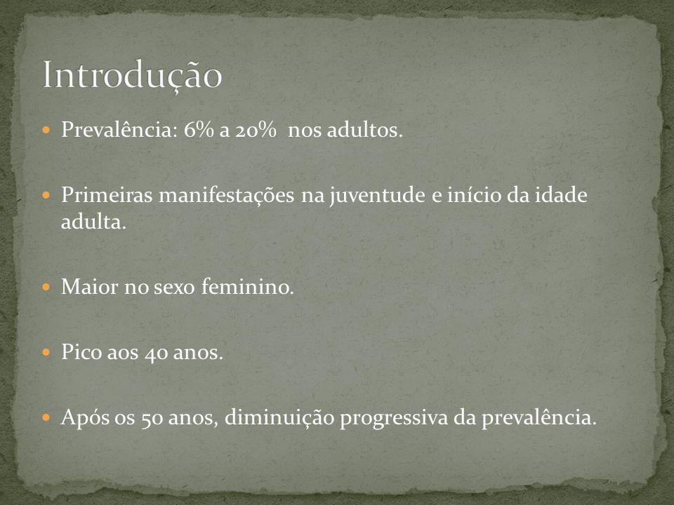 Introdução Prevalência: 6% a 20% nos adultos.