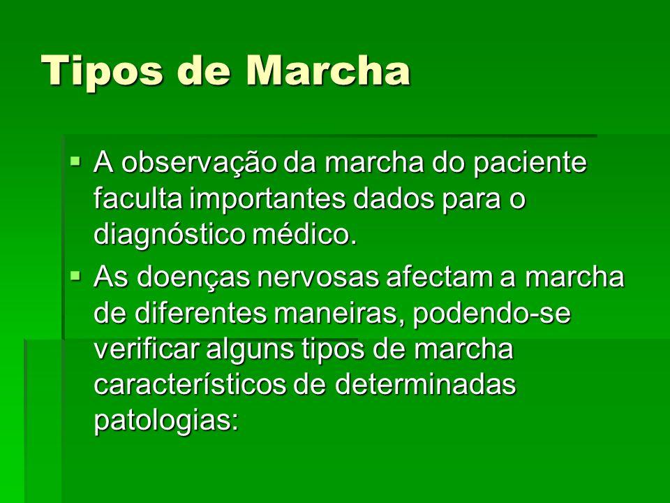Tipos de Marcha A observação da marcha do paciente faculta importantes dados para o diagnóstico médico.