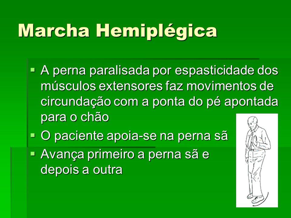 Marcha Hemiplégica A perna paralisada por espasticidade dos músculos extensores faz movimentos de circundação com a ponta do pé apontada para o chão.