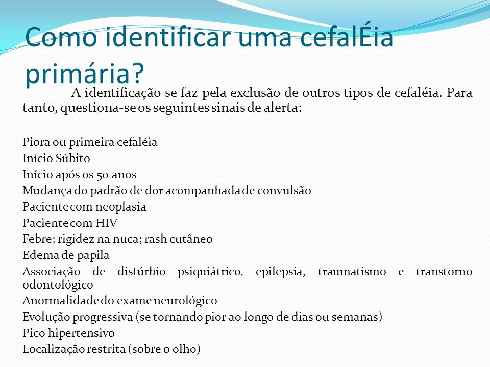 Como identificar uma cefalÉia primária