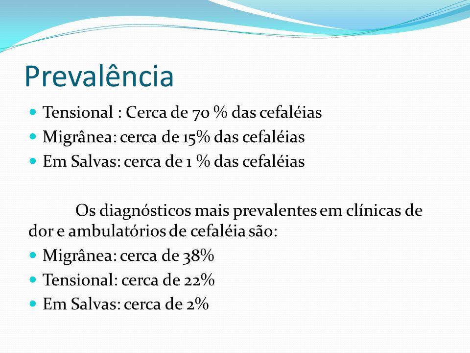 Prevalência Tensional : Cerca de 70 % das cefaléias