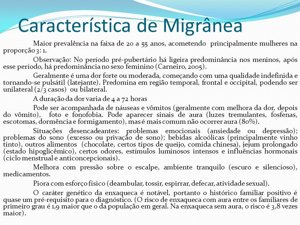 Característica de Migrânea