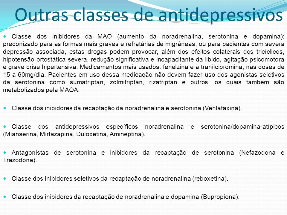 Outras classes de antidepressivos