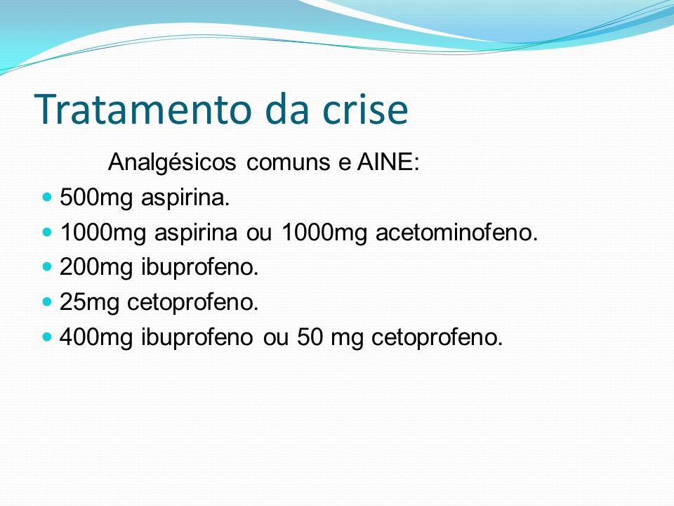 Tratamento da crise Analgésicos comuns e AINE: 500mg aspirina.