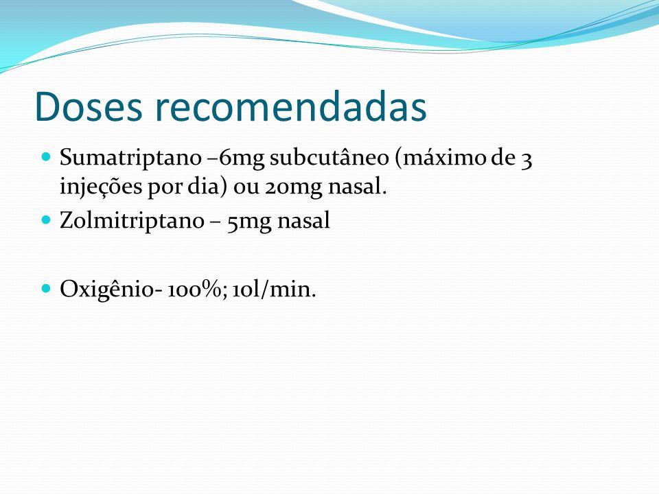 Doses recomendadas Sumatriptano –6mg subcutâneo (máximo de 3 injeções por dia) ou 20mg nasal. Zolmitriptano – 5mg nasal.