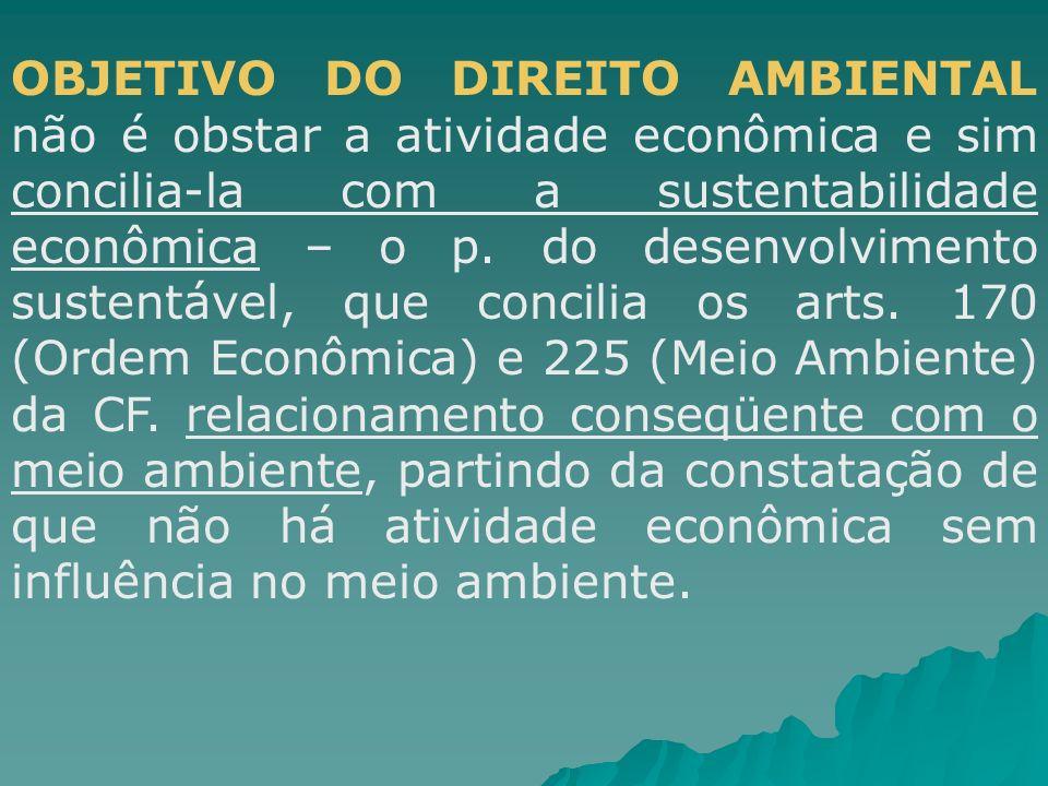 OBJETIVO DO DIREITO AMBIENTAL não é obstar a atividade econômica e sim concilia-la com a sustentabilidade econômica – o p.