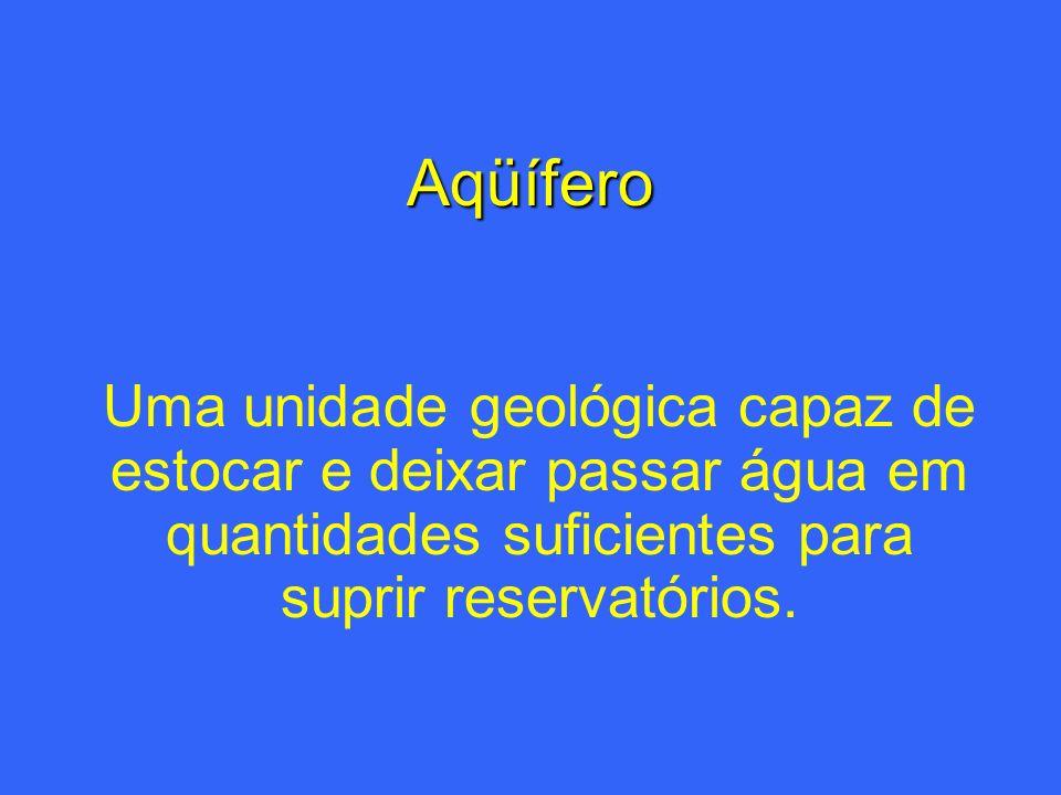 Aqüífero Uma unidade geológica capaz de estocar e deixar passar água em quantidades suficientes para suprir reservatórios.
