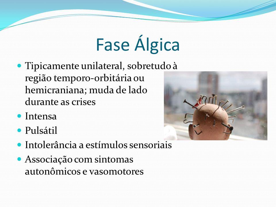 Fase Álgica Tipicamente unilateral, sobretudo à região temporo-orbitária ou hemicraniana; muda de lado durante as crises.