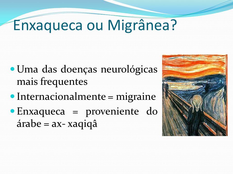 Enxaqueca ou Migrânea Uma das doenças neurológicas mais frequentes
