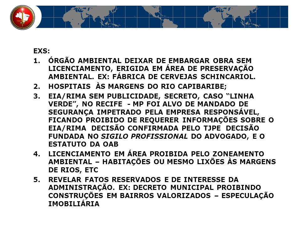 EXS: ÓRGÃO AMBIENTAL DEIXAR DE EMBARGAR OBRA SEM LICENCIAMENTO, ERIGIDA EM ÁREA DE PRESERVAÇÃO AMBIENTAL. EX: FÁBRICA DE CERVEJAS SCHINCARIOL.