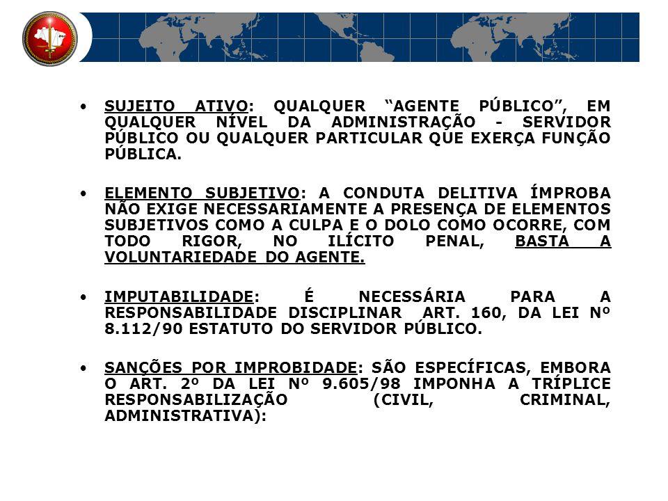 SUJEITO ATIVO: QUALQUER AGENTE PÚBLICO , EM QUALQUER NÍVEL DA ADMINISTRAÇÃO - SERVIDOR PÚBLICO OU QUALQUER PARTICULAR QUE EXERÇA FUNÇÃO PÚBLICA.