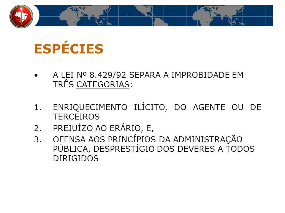 ESPÉCIES A LEI Nº 8.429/92 SEPARA A IMPROBIDADE EM TRÊS CATEGORIAS:
