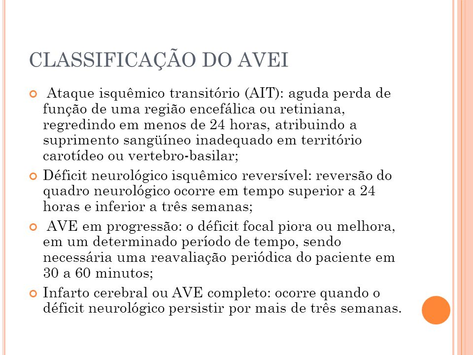 CLASSIFICAÇÃO DO AVEI