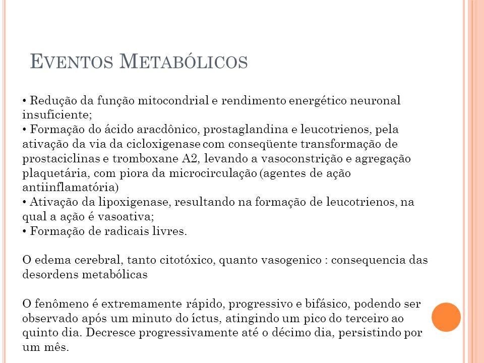 Eventos Metabólicos Redução da função mitocondrial e rendimento energético neuronal insuficiente;