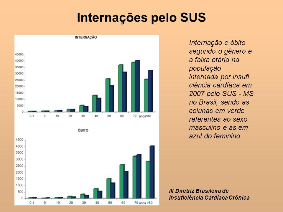 Internações pelo SUSInternação e óbito segundo o gênero e a faixa etária na população.