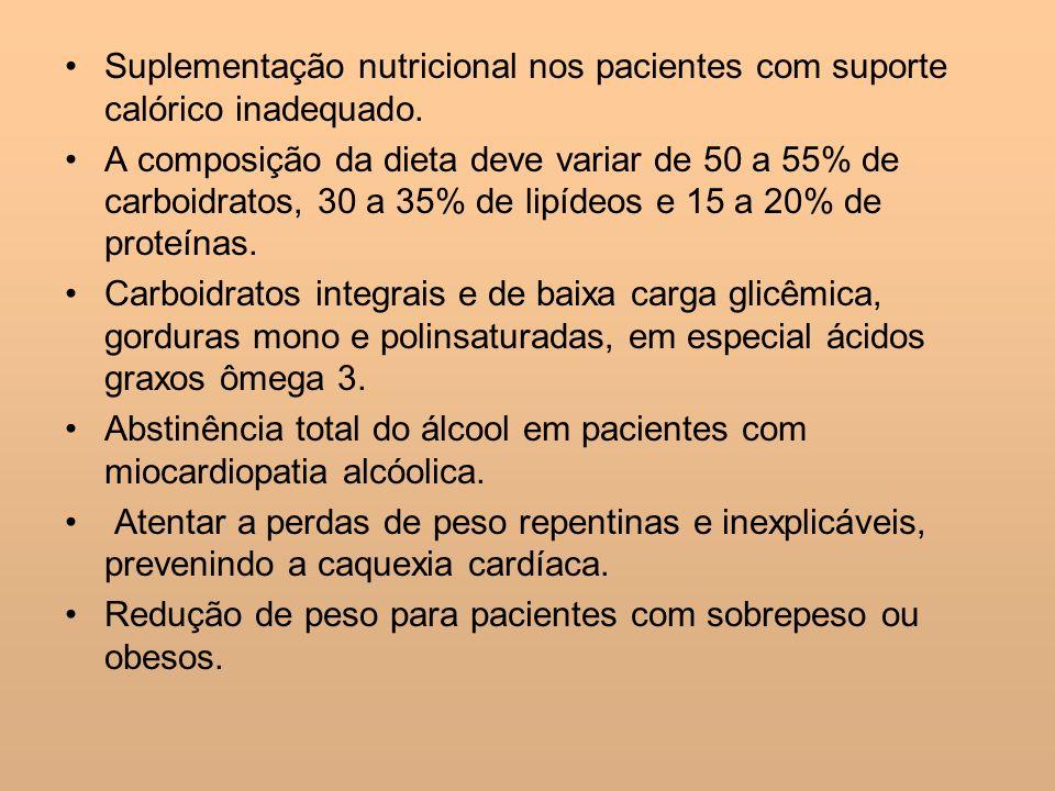 Suplementação nutricional nos pacientes com suporte calórico inadequado.