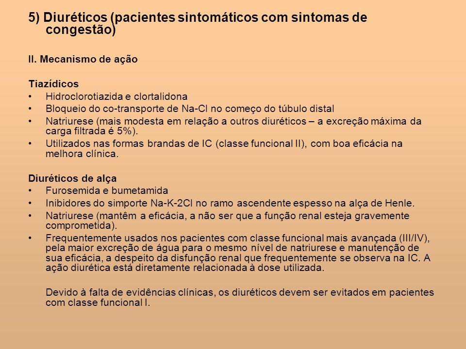 5) Diuréticos (pacientes sintomáticos com sintomas de congestão)
