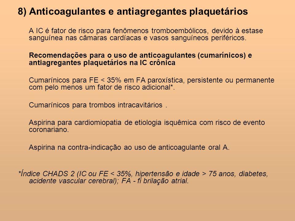 8) Anticoagulantes e antiagregantes plaquetários