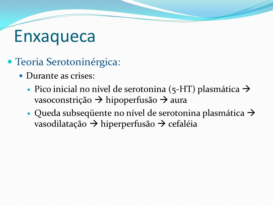 Enxaqueca Teoria Serotoninérgica: Durante as crises: