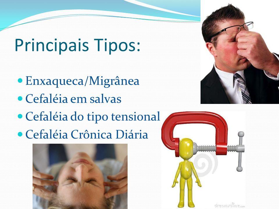 Principais Tipos: Enxaqueca/Migrânea Cefaléia em salvas