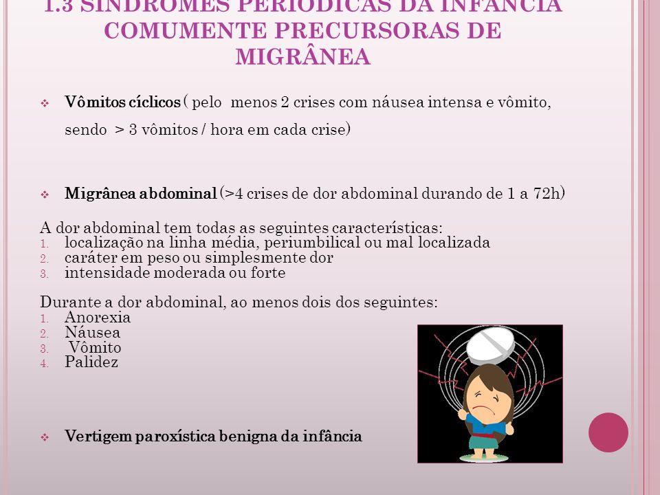1.3 SÍNDROMES PERIÓDICAS DA INFÂNCIA COMUMENTE PRECURSORAS DE MIGRÂNEA