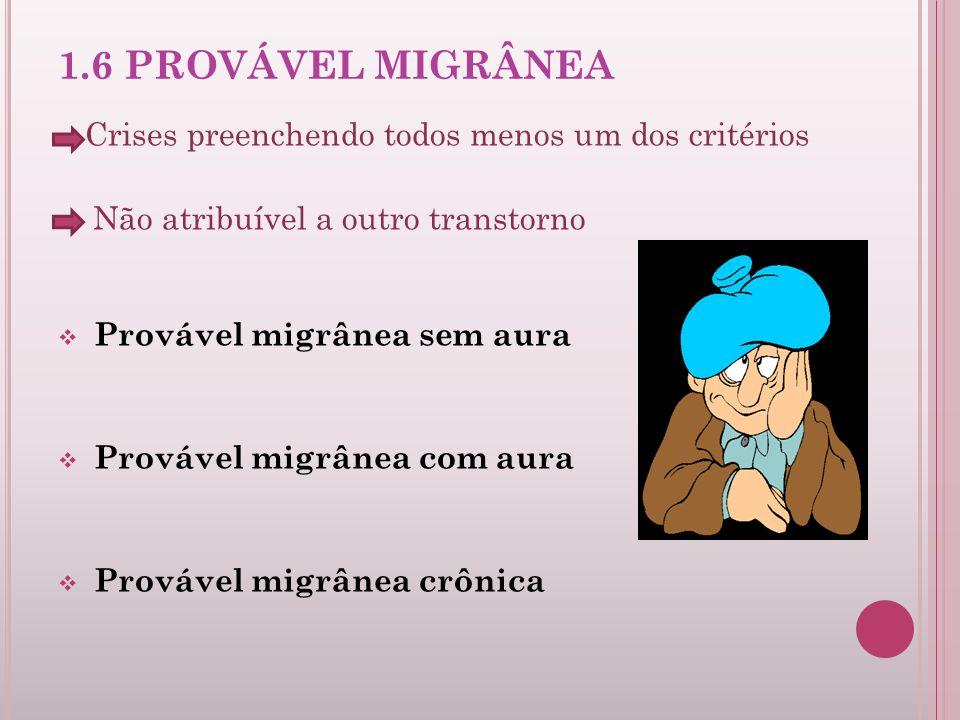 1.6 PROVÁVEL MIGRÂNEA Crises preenchendo todos menos um dos critérios