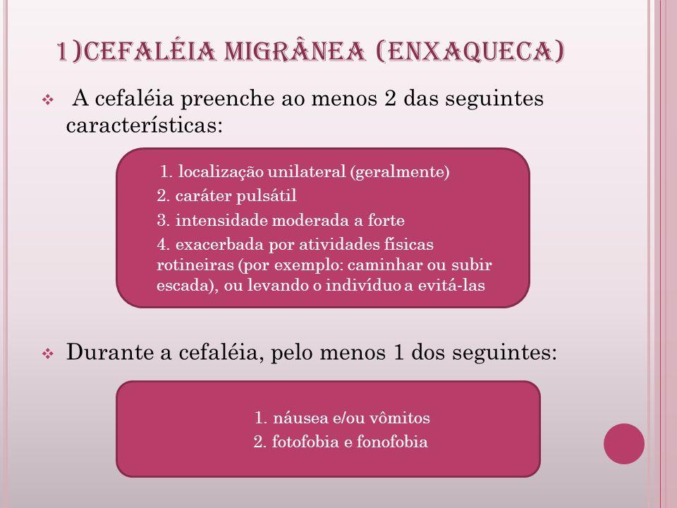 1)CEFALÉIA MIGRÂNEA (ENXAQUECA)