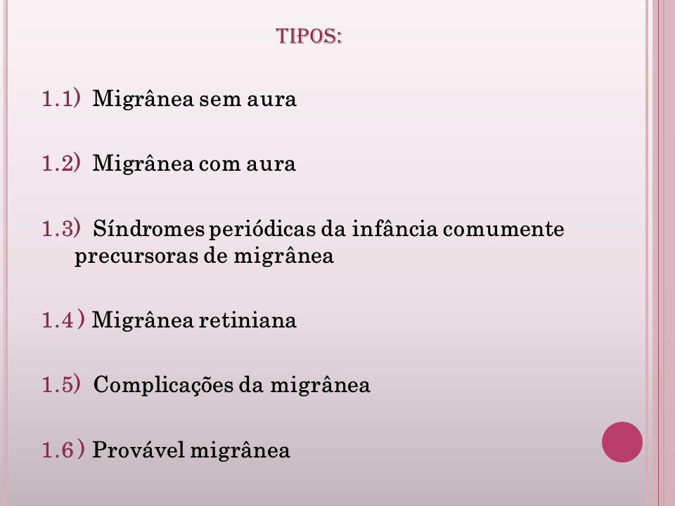 TIPOS: 1.1) Migrânea sem aura. 1.2) Migrânea com aura. 1.3) Síndromes periódicas da infância comumente precursoras de migrânea.