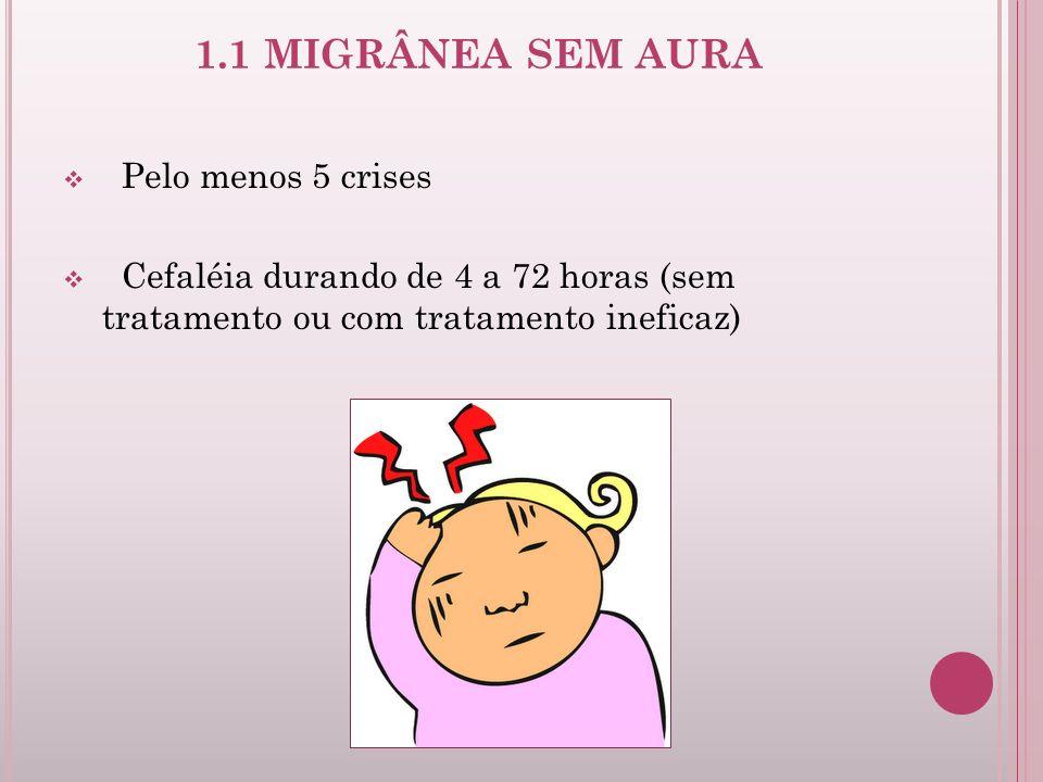 1.1 MIGRÂNEA SEM AURA Pelo menos 5 crises